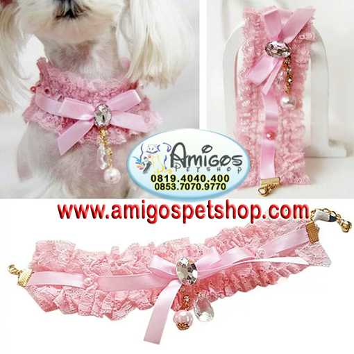 Pink Pet Cat Lace Pearl